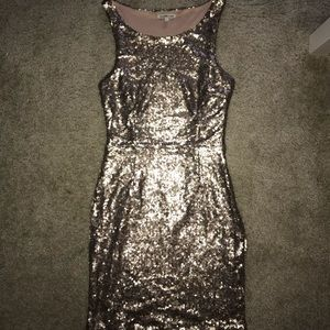 Gold sequin mini dress! Perfect for holidays!